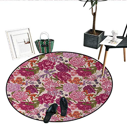 Shabby Chic Round Small Door Mat Peonies BlackBerry Wild Flowers in Vintage Style Colorful Nature Theme Living Dining Room Bedroom Hallway Office Carpet (24