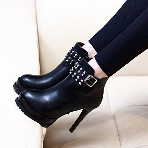 HBDLH Heel Damenschuhe Baitao Schwarz 11 cm Heel HBDLH Martin Stiefel Runden Kopf Dicke Sohle Samt Gürtel Schuhe 64a46d