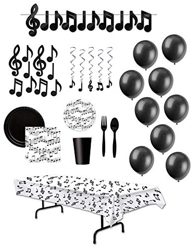Music Decorations and Disposable Tableware Party Supplies for 24 Guests Musical Note Whirls Streamer Balloons Cutouts Tablecover -