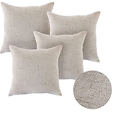 Deconovo Textural Faux Linen Throw Cushion Case Pillow Cover With Invisible Zipper For Couch, 18x18-inch, Light Flax, Set Of 4