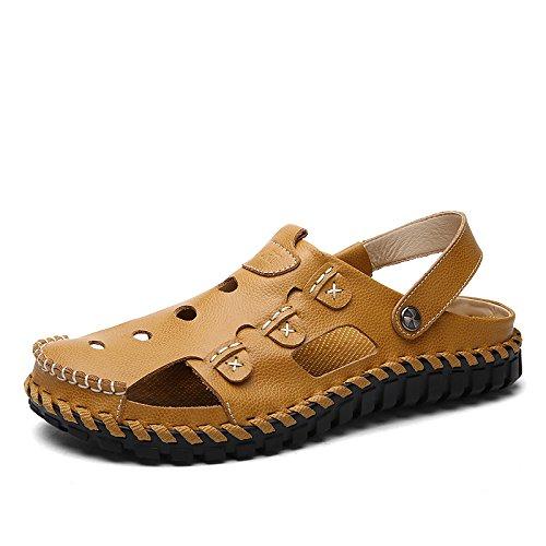 Xing Lin Sandali Di Cuoio Baotou Pantofole Uomo Sandali Estate Marea Di Nuovo Di Moda AllAperto Sulla Spiaggia Di Sabbia Di Scarpe, Scarpe Casual, Indossare Un 43 Codice Standard, Giallo