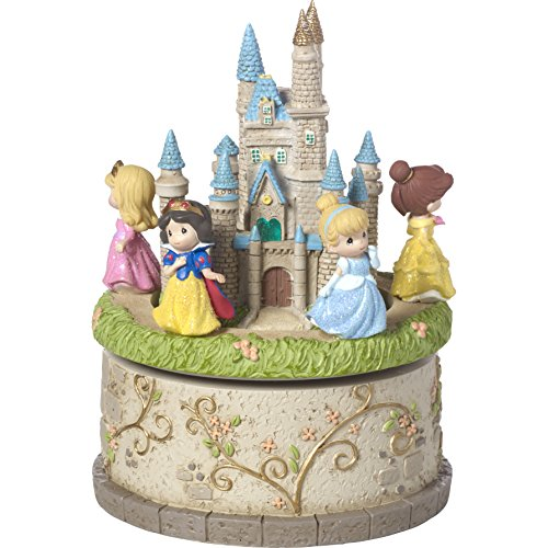 Precious Moments 164102 Princess Castle Resin LED Music Box Disney Showcase Collection, (Princess Music Box)