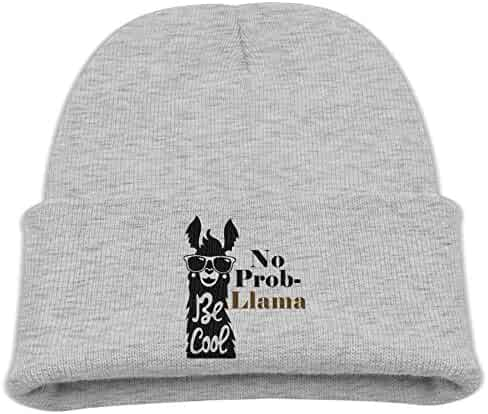 d18e3284aca OHMYCOLOR Smiling Sunglasses No Problem Llama Kid Knit Beanies Hats For  Boys Girls Fashion Woolen Winter