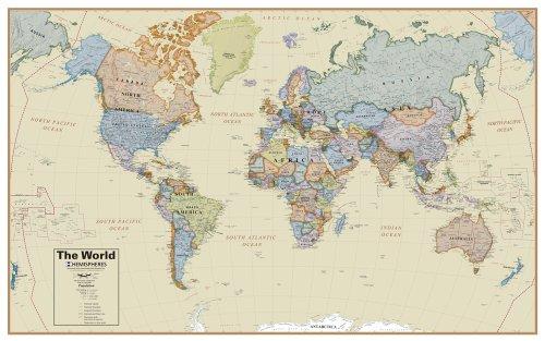 Hemisphere Boardroom World Wall Map