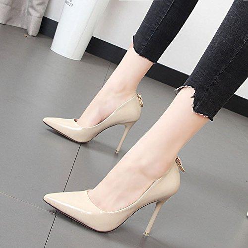 Zapatos punta mujer con zapatos M la del talón rojo alto de solo de hembra boda blanco zapatos luz Qiqi fina zapatos Xue CqwxI5p