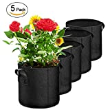 IZERUO 5 Pack 5 Gallon Smart Grow Bag for Potato Plant Container & Nursery Garden with Handled (Black)