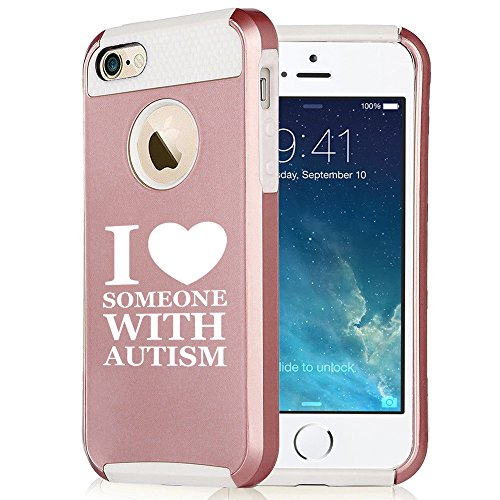 For Apple (iPhone 8) Shockproof Impact Hard Soft Case Cover I Love Heart Someone With Autism (Rose Gold-White) - Someones Heart