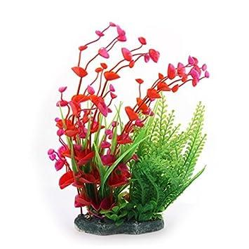 eDealMax Decoración Hierba Planta de agua plásticas artificiales Rojo Verde Para el acuario