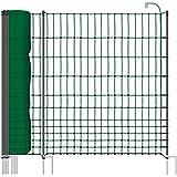 Rete pollame per recinzioni elettrificabili ,112 cm di altezza e 50 m di lunghezza, a punta doppia, dotata di 20 pali, colore verde