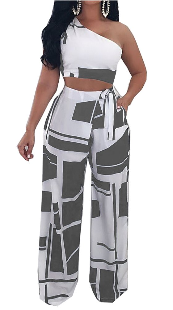 Muesily Women's One Shoulder Crop Top & Boot Cut Colorblock Pantsuit Two Pieces by Muesily (Image #1)