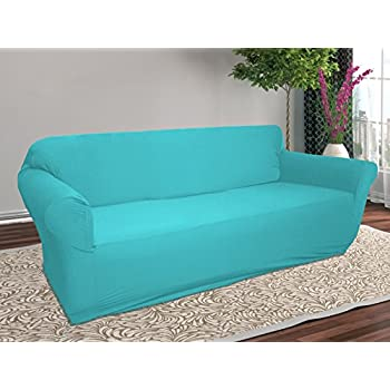 Linen Store Stretch Jersey Slipcover, Soft Form Fitting, Solid Color (Sofa,  Aqua)
