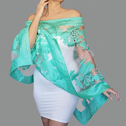 Mint Wrap Shawl Green Wedding Stole White Scarf Top By ZiiCi