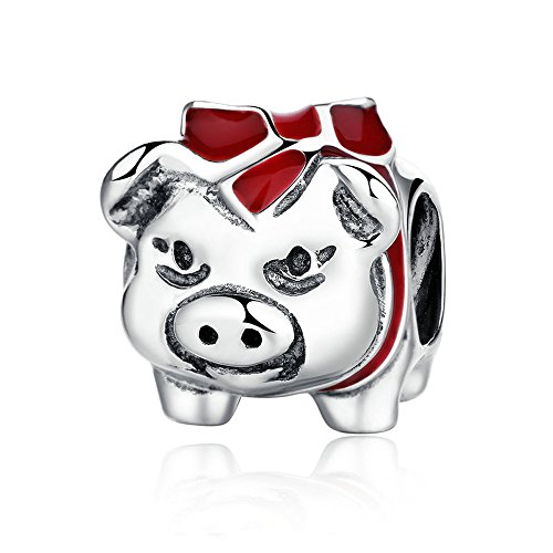 Everbling Piggy Bank Pig With BLlack And Red Enamel 925 Sterling Silver Bead Fits European Charm Bracelet (Piggy Bank Charm)