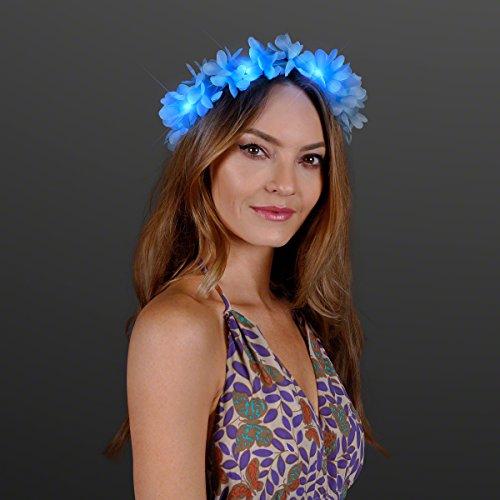 Blue LED Hawaiian Lei Floral Headband Light Up