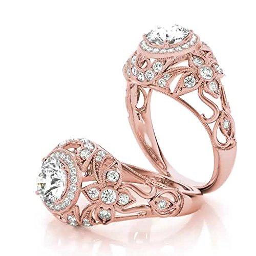 Forever Diamond 1.00Ct Round Cut 14K Rose Gold Hallmarked Moissanite Bridal...