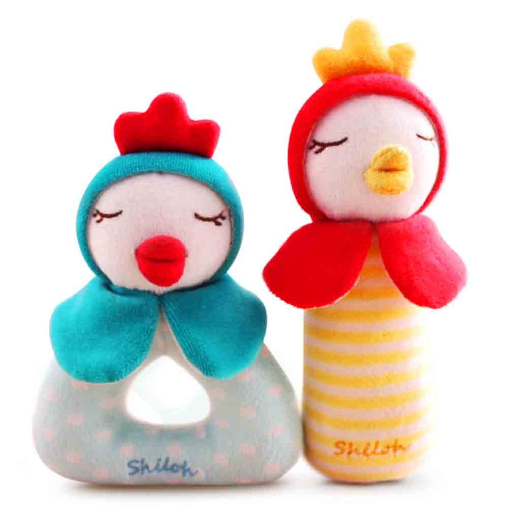 SHILOH Rattle Plush Toy Lovely Kid Children Infant Doll Intelligence Developmental Gift Animals (Magic Roosters)