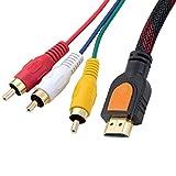 BLUEXIN 1080P HDMI Male to 3 RCA Male Video Audio AV Adapter Cable,HDMI