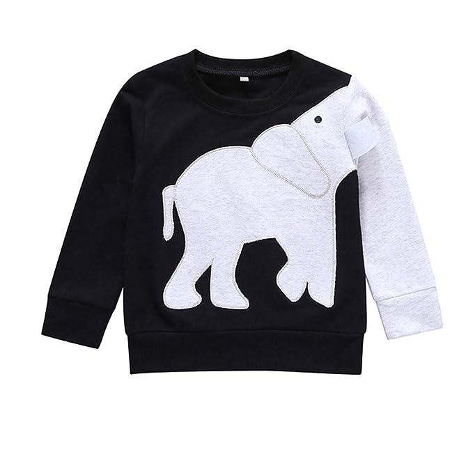 Mitlfuny Niños Camisetas de Manga Larga Primavera Verano Ropa Elefante Estampado Blusas Sudaderas para Bebé Niña Niño Negro Tops 0-5 Años: Amazon.es: Ropa y ...