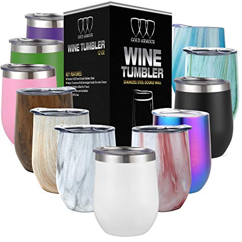 Stainless Steel Stemless Wine Glass Tumbler with Lid, 12 oz | Double Wall Vacuum Insulated Travel Tumbler Cup - Sweat Free, Unbreakable, BPA Free (Sparkle White, 12oz)