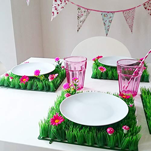 Artificial Grass Place Mat - Set of 4 Table Mats With Flowers - Perfect for Alice in Wonderland Party Supplies, Tea Party Decoration and Garden Parties Decor