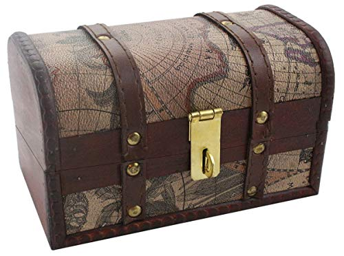 Well Pack Box Vintage Map Pattern Storage Trunk 7.5