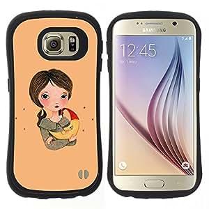 """Pulsar iFace Series Tpu silicona Carcasa Funda Case para Samsung Galaxy S6 , Chica Dibujo Arte Noche Madre Chica"""""""