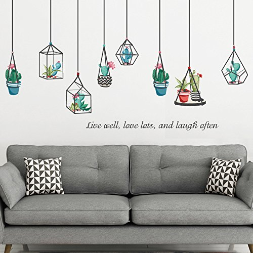 huangliao Plants Cactus Hanging Geometric Pots Home Wall Stickers Decor Living Room Succulent Sticker Removable Vinyl Art Mural Decals