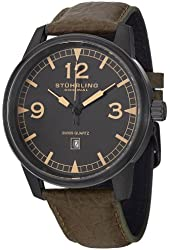 Stuhrling Original Men's 1129Q.03 Condor Date Stainless Steel Watch With Green Leather Band