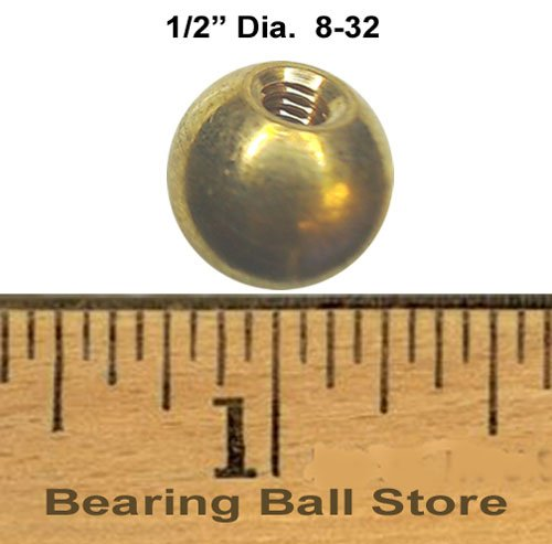 147 1/2'' threaded 8-32 brass balls drilled tapped lamp finials by Bearing Ball Store