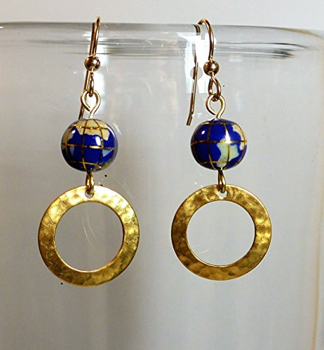 Lapis Globe & Hammered Brass Hoop Earrings