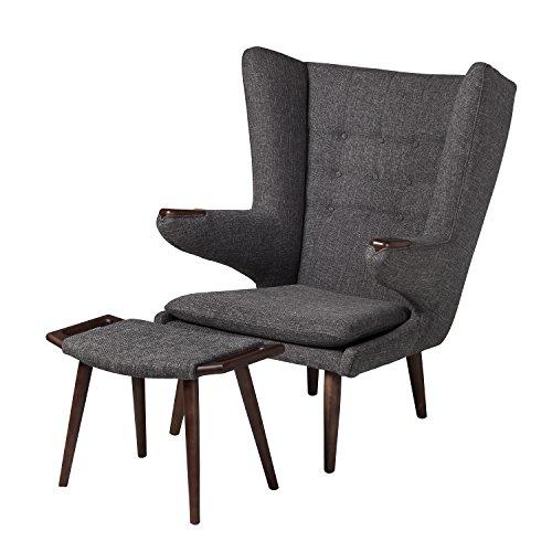 Papa Bear Inspired Chair with Ottoman (Charcoal) (Chair Papa)