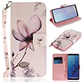 Misteem Case for Samsung Galaxy S9 Plus Animal, Cartoon Anime Comic Leather Case Wallet with Bookstyle Magnetic Closure Card Slot Holder Flip Cover Shockproof Slim Creative Pattern Shell Protective Cover for Samsung Galaxy S9 Plus [Flower]