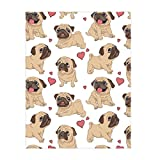QH 58 x 80 Inch Cartoon French Bulldog Pattern Super Soft Throw Blanket for Bed Couch Sofa Lightweight Travelling Camping Throw Size for Kids Adults All Season