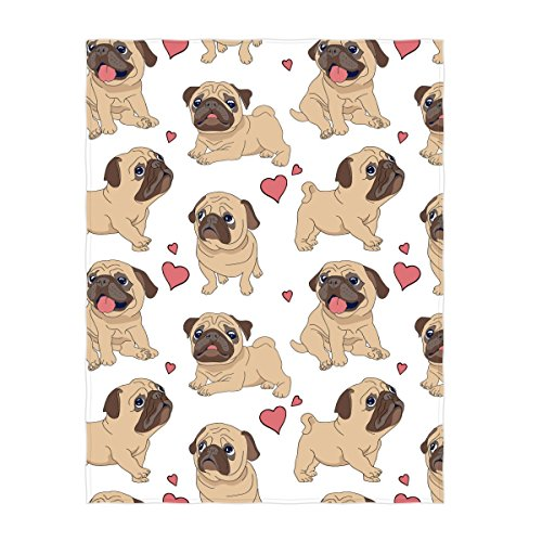 QH 58 x 80 Inch Cartoon French Bulldog Pattern Super Soft Throw Blanket for Bed Couch Sofa Lightweight Travelling Camping Throw Size for Kids Adults All Season by QH