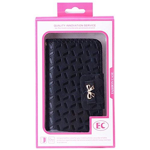 Fashion & personality Para la galaxia S6 / G920 de Samsung que graba en relieve la caja del cuero del estilo de la carpeta con la cadena y las ranuras para tarjeta ( Color : Black ) Black