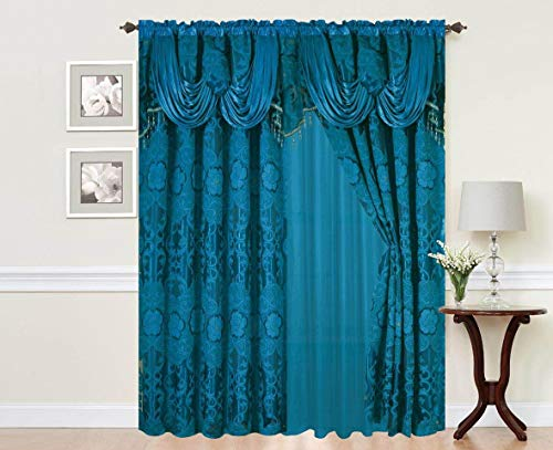 (Elegant Home Window Curtain Drapes All-in-One Set with Valance & Sheer Backing & Tassels for Living Room, Bedroom, Dining Room, and Sliding Doors - Julia (Turquoise))