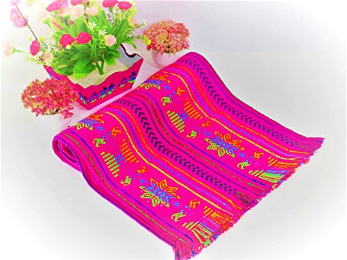 Pink table runner 14x72 Inches, Fiesta Decoration, Wedding decor, Party Mexican Decor, Mexican embroidered, 6 Feet Long, 14X72TRC40 by MexFabricSupplies