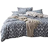 Geometric Print Luxury King Bedding Set 100% Cotton Reversible Boys Duvet Cover Set Hotel Quality Modern Bedding Collection for Teens Adults 3 Piece Girls Duvet Comforter Cover Set