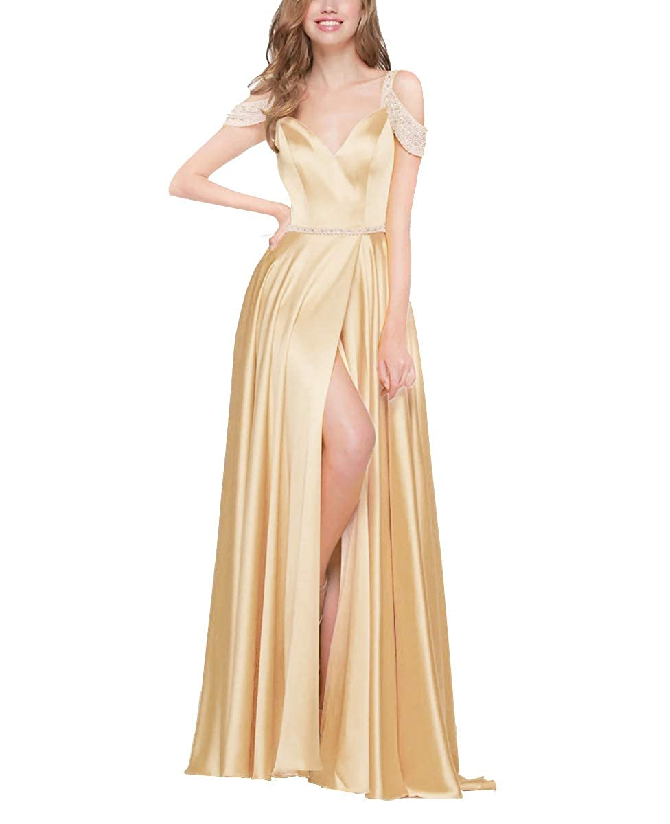 Champagne Off The Shoulder Prom Dresses Long Beaded Satin Split Gowns for Womens 2019