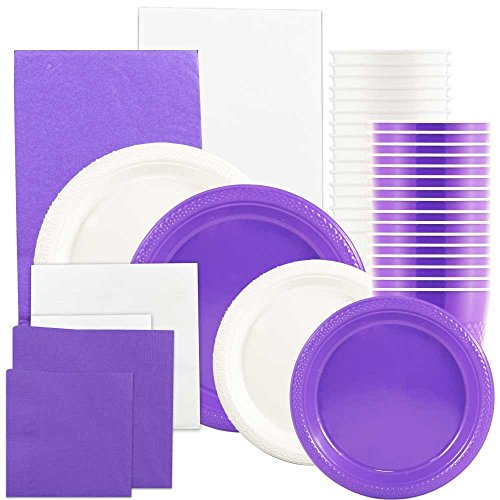 JAM Paper Party Supply Assortment - Purple & White Grad Pack - Plates (2 Sizes), Napkins (2 Sizes) , Cups & Tablecloths - 12/pack
