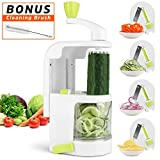 Spiralizer Vegetable Slicer, 4-Blade Spiral Slicer with Strongest and Heaviest Duty, Veggie Pasta Spaghetti Maker for Low Carb/Paleo/Gluten-Free Meals with Cleaning Brush