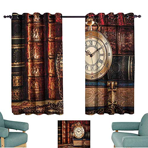 (Mannwarehouse Antique Windshield Curtain Nostalgic Classic Pocket Watch on The Background of Old Books Dated Archive Photo for Living, Dining, Bedroom (Pair) 55