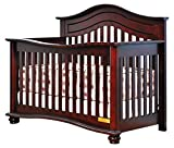 Athena Lia 4-in-1 Convertible Crib with Free Guardrail, Cherry