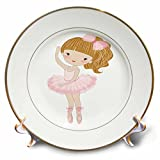 3dRose Cute Dancing Ballerina Little Girl Porcelain Plate, 8''
