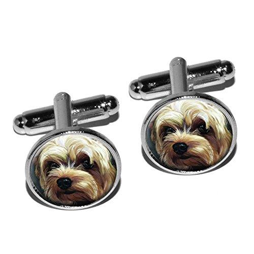 Dog Plated Cufflinks - Yorkshire Terrier - Yorkie Dog Pet Round Cufflink Set - Silver
