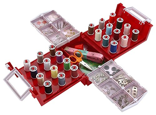 Compact Foldaway Sewing Box Kit ,Over 100 piece Set Fits All Brother, Singer Sewing Machines