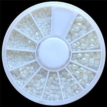 Amazon white pearl nail art stone different size wheel white pearl nail art stone different size wheel rhinestones beads prinsesfo Images