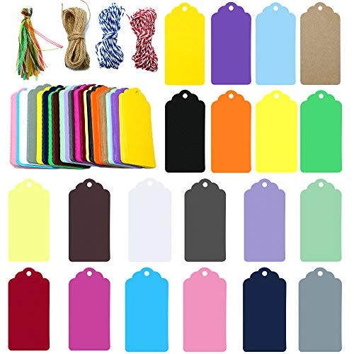 - 200 Pcs Gift Tags with String,20 Colorful Paper Tags,Rectangle Craft Hang Tags,4.5x9 cm Tags for Birthday Baby Shower Party Favors