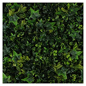 Milltown Merchants Artificial Hedge - Outdoor Artificial Plant - Great Boxwood and Ivy Substitute - Sound Diffuser Privacy Fence Hedge - Topiary Greenery Panels 94