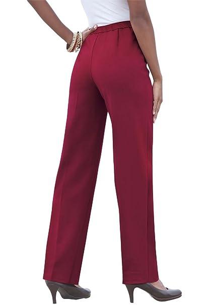 44ccf4ebd60 Roamans Plus Size Stretch Pull On Pants (Burgundy